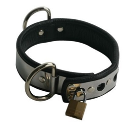 Lined Metal Band Sub-Collar Bondage Gear, Collars