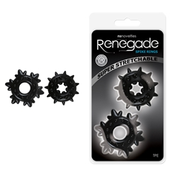 Renegade Spike Cr Rings Black Cock Rings, Spike Rings, Stretchable Rings