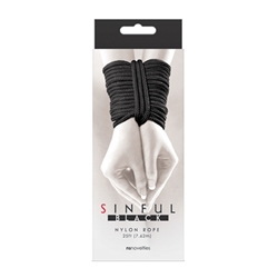 Sinful Nylon Rope 25 ft Black Rope, Bondage, Hand and Wrist Restraints, Nylon Rope