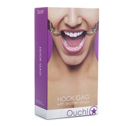 Ouch! Hook Gag - Purple Mouth Gag, Ball Gag, Leather Mouth Gag, Bondage
