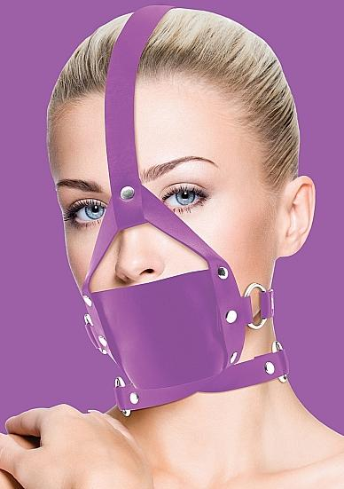 Ouch! Leather Mouth Gag - Purple Mouth Gag, Ball Gag, Leather Mouth Gag, Bondage