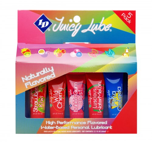ID Juicy Lube 12g Assorted Tubes 5 Pack Personal Lubricants, Flavored Lubes, Water Based Lube