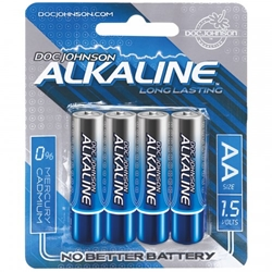 Doc Johnson Alkaline Batteries AA 4-Pack Batteries, Home Party Packages
