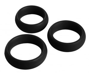 3 Piece Silicone Cock Ring Set - Black Cock Rings