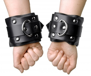 Deluxe Locking Wide Padded Cuffs Bondage Gear, Leather Bondage Goods, Ankle and Wrist Restraints