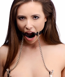 Mutiny Silicone O-Ring Gag with Nipple Clamps Mouth Gags, Nipple Toys, Nipple Clamps and Tweezers, Silicone Toys