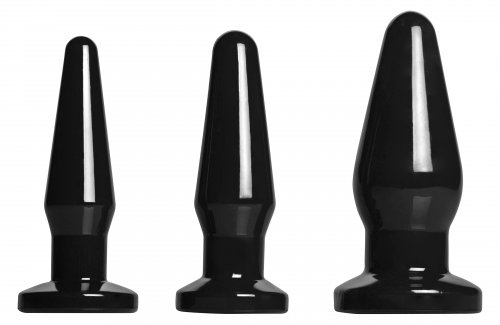 Level Up 3 Piece Anal Plug Set- Black Anal Toys, Butt Plugs