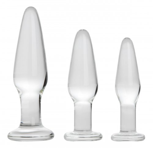 Dosha 3 Piece Glass Anal Plug Kit Glass Toys, Butt Plugs, Glass Anal Toys, Anal Toys