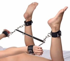 Black Doggy Style Spreader Bar Kit with Cuffs Bondage Gear, Ankle and Wrist Restraints, Bondage Kits