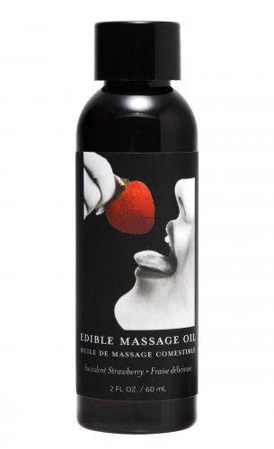 2 Ounce Edible Massage Oil- Strawberry Personal Lubricant, Flavored Lube, Oil Based Lubes, Personal Massage, Couples Play