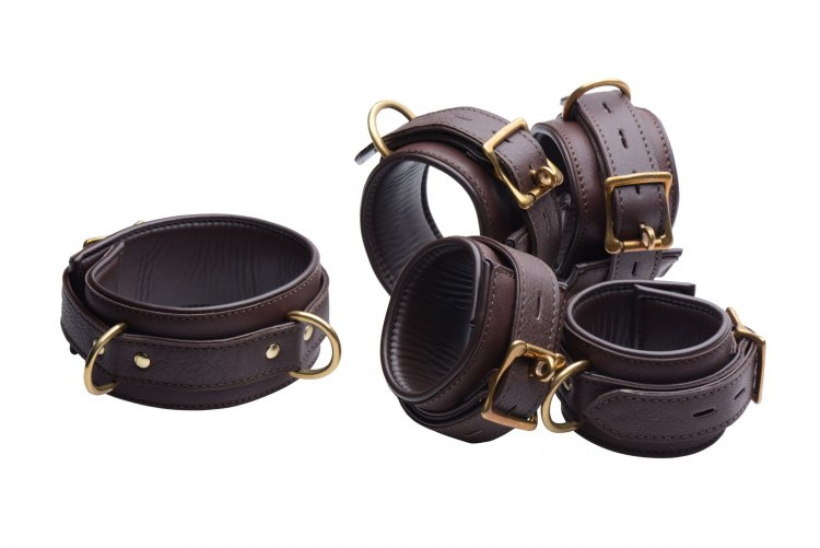 Brown 5 Piece Locking Leather Bondage Set Beginner Bondage, Bondage Gear, Leather Bondage Goods, Ankle and Wrist Restraints