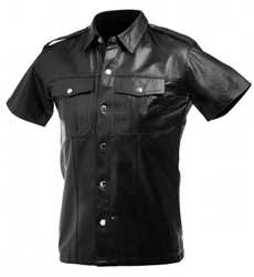 Lambskin Leather Police Shirt - Large Clothing and Lingerie, Mens Clothing