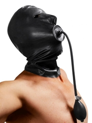 Rubber Hood with Built-in Inflatable Gag Hoods and Blindfolds, Hoods and Muzzles