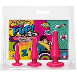 American Pop! Launch! Silicone Anal Trainer Set Pink Anal Toys, Butt Plugs